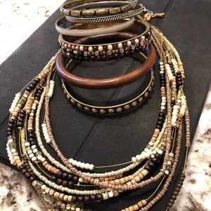 Jewelry - Beaded Necklace and six Bangles